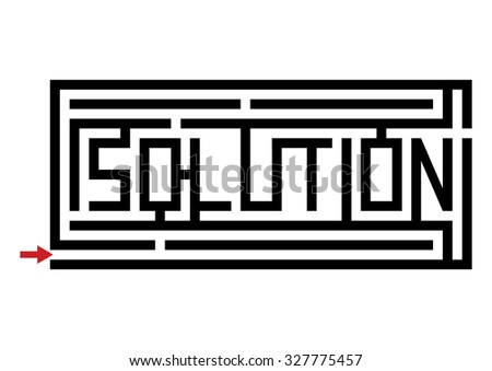 A Maze with the word solution - stock vector