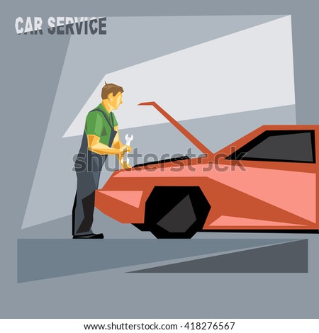 A mechanic in green and silver suit with tools, fixing a red car in car service, over silver background, digital vector image - stock vector