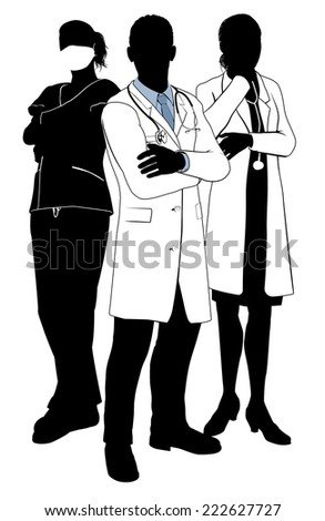 A medical team of doctors or surgeons with white coats and scrubs, surgical masks and stethoscopes in silhouette - stock vector