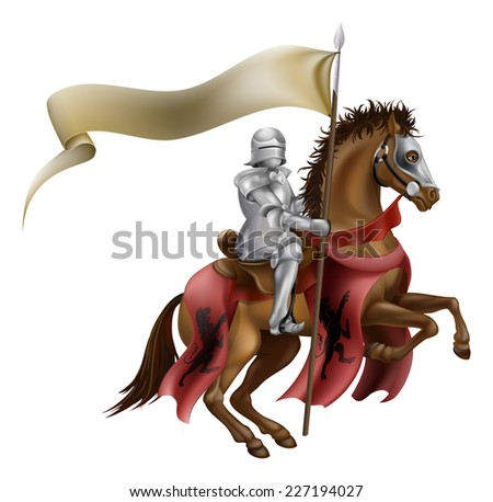 A medieval knight in armor riding on horseback on a brown horse holding a flag or banner - stock vector