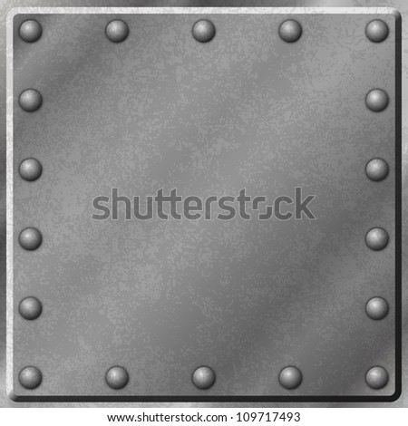 A Metal Plate Background with Rivets - stock vector