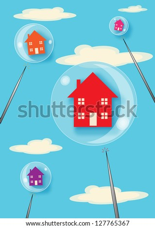 A metaphor for a property bubble. Houses floating in bubbles that are about to be burst with large pins. - stock vector