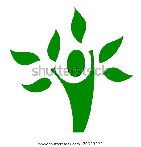 A metaphorical figure with leaves - stock vector