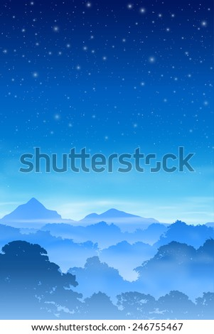 A Misty Forest Landscape with Trees and Night Sky. Vector EPS 10. - stock vector