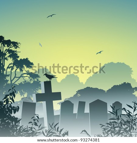 A Misty Graveyard, Cemetery with Tombstones and Crow - stock vector