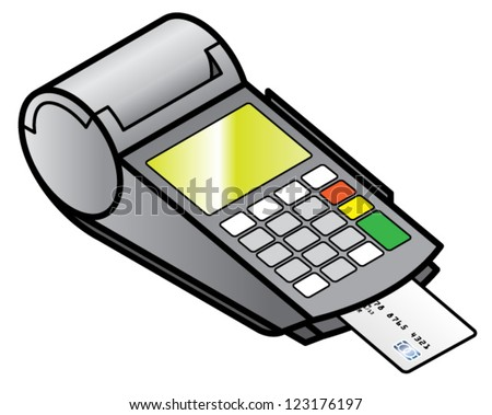 A mobile hand-held point of sale pin pad / terminal with a chipped card inserted. - stock vector