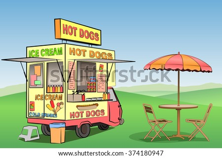 A Mobile Hot Dog, Ice Cream Stand, Kiosk - stock vector