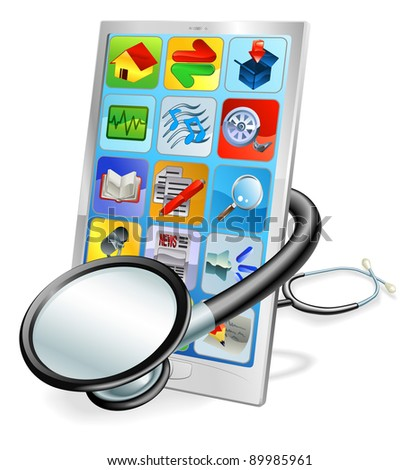 A mobile phone or tablet pc with stethoscope wrapped round it. Health check concept - stock vector