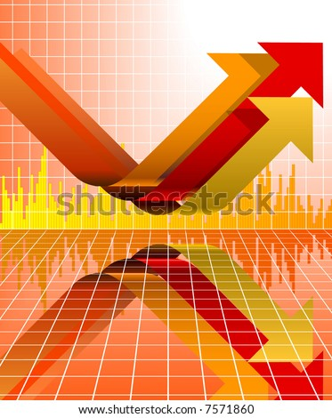A modern chart in arrows sign with grid. - stock vector