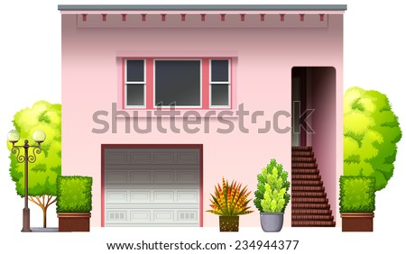 A modern pink house on a white background  - stock vector
