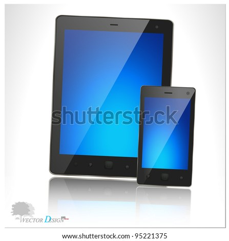A modern tablet pc and smart phone for mobile communication with blue screen. Vector illustration. - stock vector