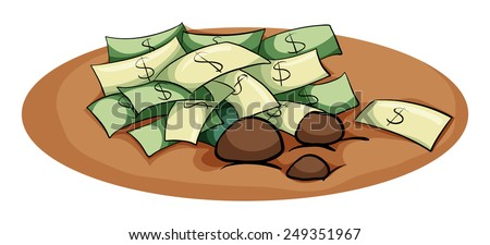 A money in the pit idiom on a white background  - stock vector