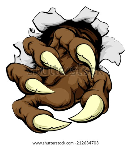 A monster claw breaking through the wall or metal or paper background - stock vector