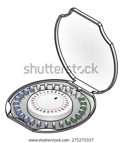 A monthly supply of birth control / contraceptive pills.  - stock vector