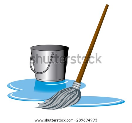 a mop and bucket cleaning a puddle on the ground - stock vector