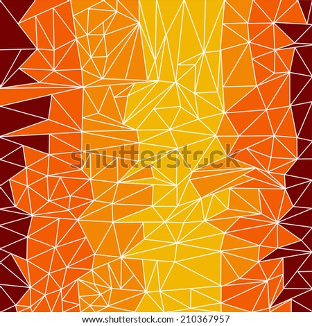 A mosaic style geometric background in autumnal colours - stock vector