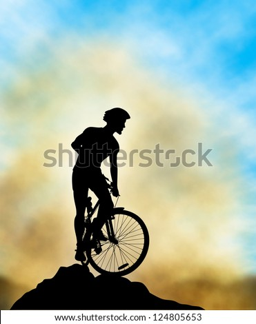 A mountain biker silhouette high on a ridge with background sky and mist made using a gradient mesh - stock vector