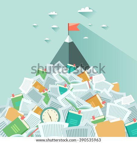 A mountain sticking out from a pile of book and papers. Concept of succeeding through hard working and learning. Vector colorful illustration in flat style - stock vector