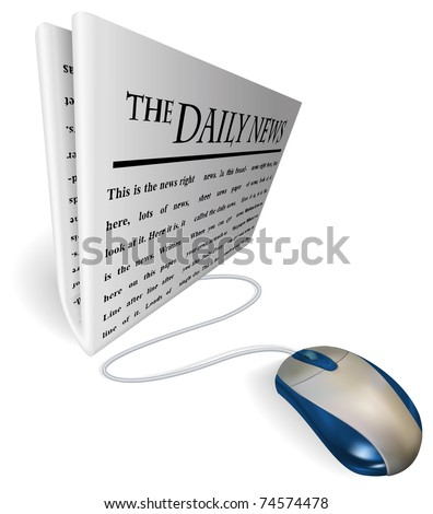 A mouse connected to a news paper. Concept for online internet news feed etc. - stock vector