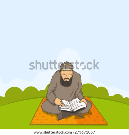 A Muslim man in traditional dress reading Islamic religious book Quran Shareef for holy month Ramadan Kareem celebration.  - stock vector