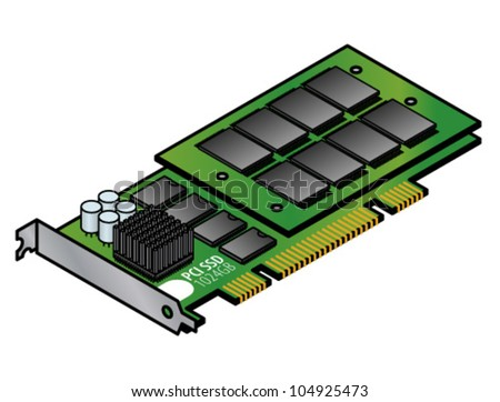 "A ""naked"" 1024GB SSD/solid state drive mounted on a PCI expansion card. - stock vector"