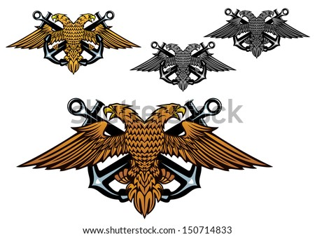 A nautical emblem vector design depicting a double headed eagle with crossed anchors isolated on white in four different colour variations. Jpeg version also available in gallery - stock vector