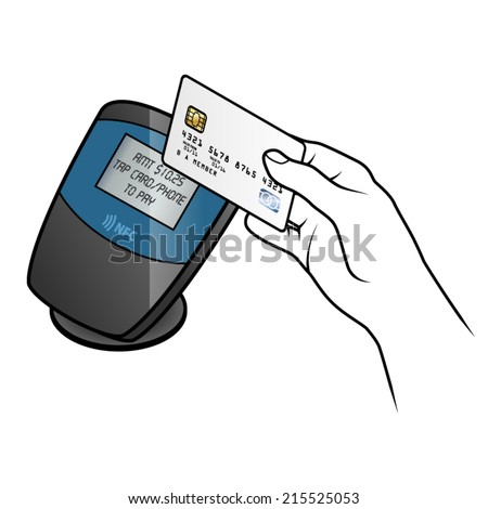 A near field communications (NFC) payment terminal, with a hand tapping an NFC compatible credit card.  - stock vector