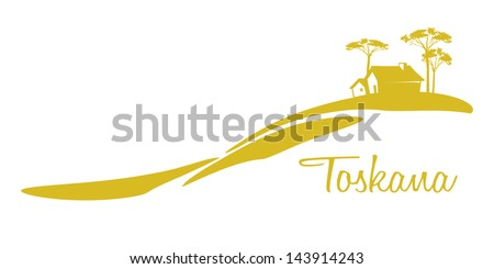 A nice Tuscany graphic with a house and some trees - stock vector