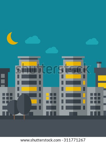 A night scenery of building city with moon. Vector flat design illustration. Vertical layout with text space on top part. - stock vector