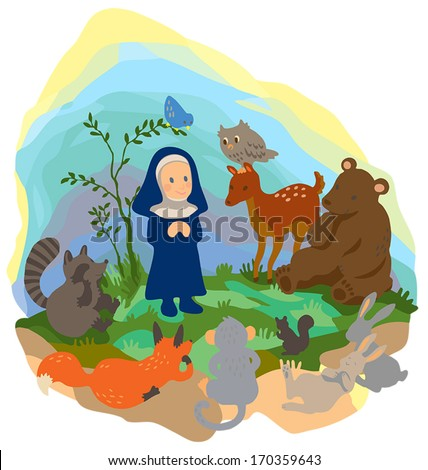 A nun is preaching truth to animals in the wood, create by vector - stock vector