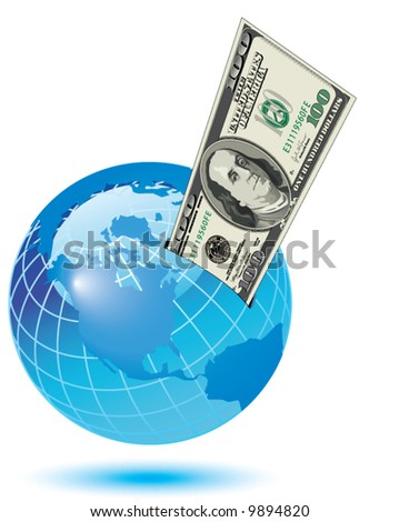 A one hundred dollar bill sticking out of a slot on the earth - stock vector