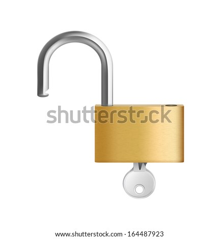 A opened padlock with key on white background. Vector illustration. Realistic. - stock vector
