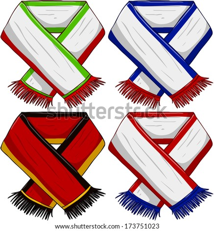 A pack of vector illustrations of famous sports teams scarfs.  - stock vector
