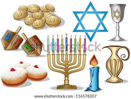 A pack of Vector illustrations of famous symbols for the Jewish Holiday Hanukkah. - stock vector