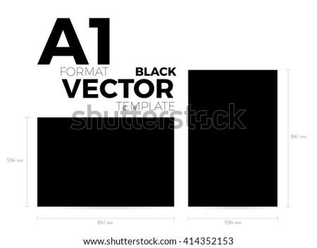 A1 page format black vector eps10 template. vertical and horizontal orientation design with A1 format size. Vector editable black page template - stock vector