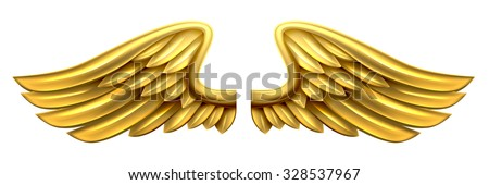 A pair of gold golden shiny metal wings design - stock vector