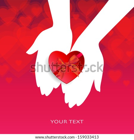 A pair of hands holds a heart shaped red gift box. Beautiful red background with heart shapes. Valentine Day concept. EPS 10 Vector illustration.  - stock vector