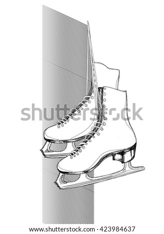 A Pair of Ice Skates. A Freehand Vector Illustration. - stock vector
