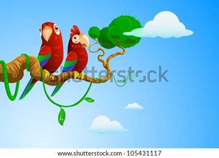 a pair of parrots on a branch - stock vector