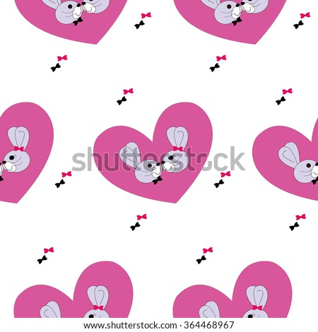 A pair of rabbits on a background of pink heart. Lovers rabbits with bows. Seamless pattern - stock vector
