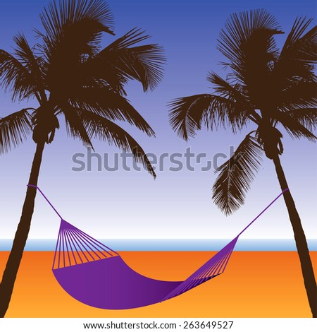 A Palm Tree and Hammock Beach Scene - stock vector