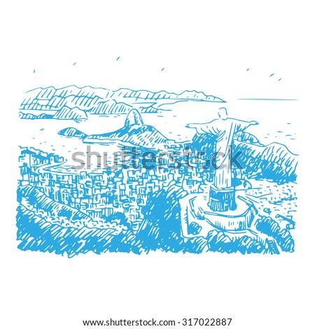 A panoramic view of the Rio de Janeiro, Brazil. Statue of Christ the Redeemer at the top of Corcovado Mountain. Vector freehand sketch. - stock vector