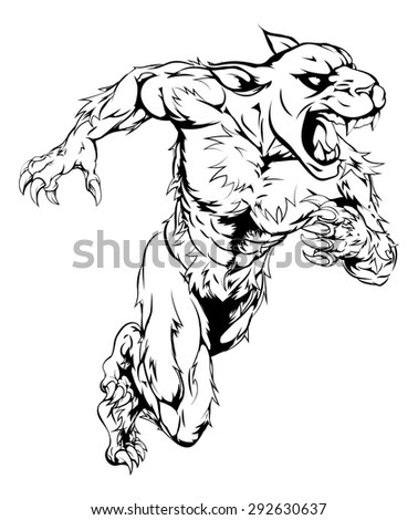 A panther man character or sports mascot charging, sprinting or running - stock vector