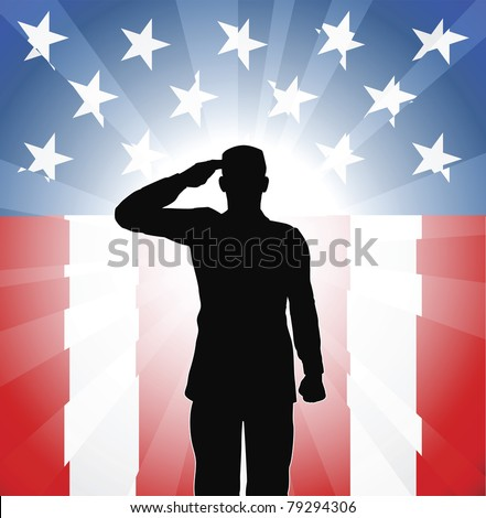 A patriotic soldier saluting in front of an American background - stock vector