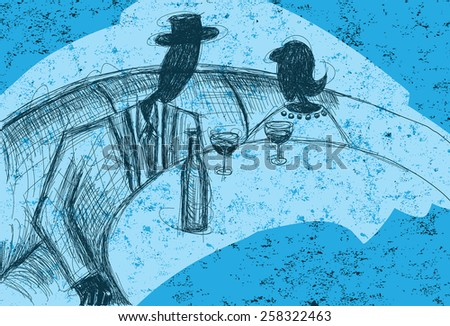 A pen sketch of couple sitting in a restaurant booth enjoying a bottle of wine over an abstract background.  - stock vector