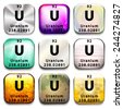 A periodic table showing Uranium on a white background  - stock vector