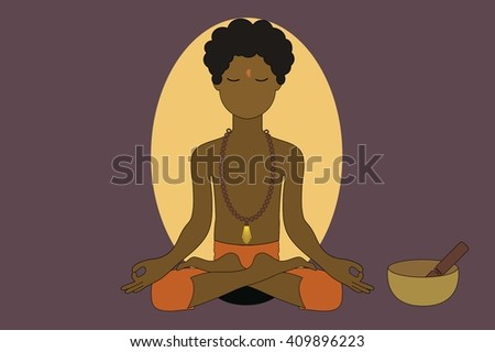 A Person Doing Yoga and Meditation - stock vector