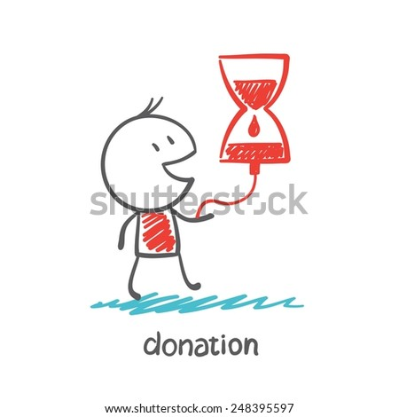 a person receives blood drip illustration - stock vector