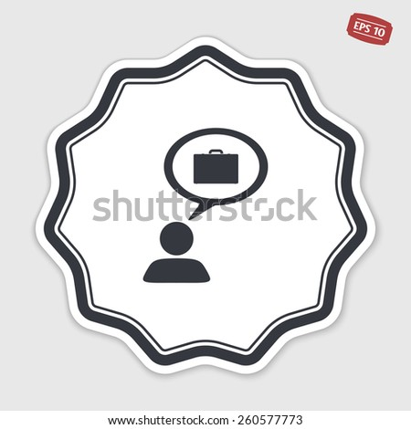 A person with a cloud. Case icon. Human thought bubble above his head. Flat design style. Made in vector illustration. Emblem or label with shadow. - stock vector