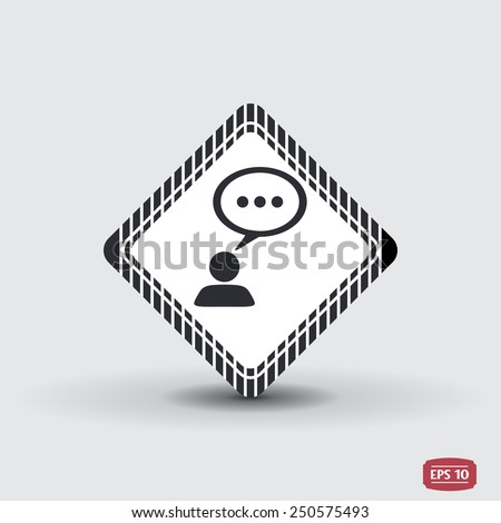 A person with a cloud. Human thought bubble above his head. Flat design style. Made in vector illustration - stock vector